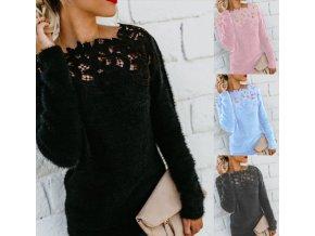 Dámský teplý huňatý svetr s originálním dekoltem