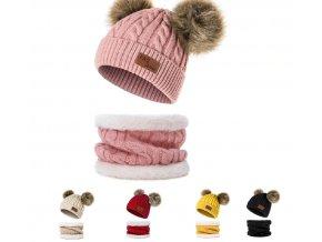 Pro děti- dětský zimní set čepice a nákrčník AKCE