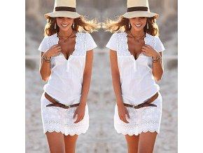 Dámské letní bílé šaty s krajkou AKCE (Velikost XL)