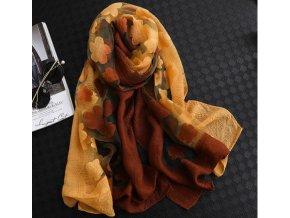 Pro ženy- Elegantní dámský dvoubarevný šátek s květinovým vzorem v podzimních barvách- Tip na dárek