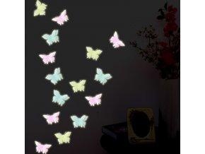 Dekorace- Samolepky na zeď Motýlci svítící ve tmě 6ks- 3 barvy