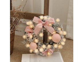 Vánoční dekorace- krásný svítící dekorační věnec na dveře, adventní věnec- 3 barvy