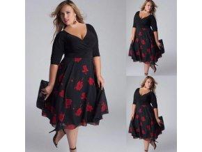 Dámské černé společenské šaty na svatbu- plus size až 5XL