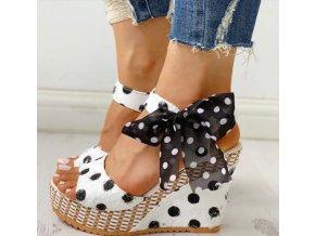 Dámské boty- dámské sandály na klínu s mašličkou černé a bílé