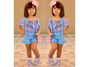 Oblečení pro děti- Stylový dívčí set s květy, tričko a kraťasy