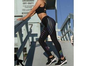 Dámské sportovní fitness legíny s pruhy- Tip na dárek