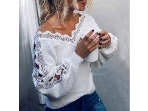Dámský jarní bílý svetr s krajkou