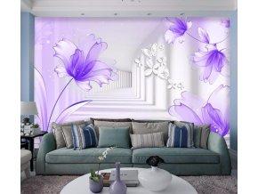 Tapety na zeď- 3D moderní fialová samolepící tapeta VÝPRODEJ SKLADU