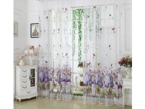 Záclony- levné hotové záclony s tunelem 100x200cm fialové, zelené- Kuchyně, Obývací pokoj