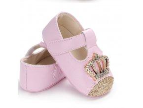Dětské boty- botičky pro nejmenší růžové a zlaté VÝPRODEJ SKLADU