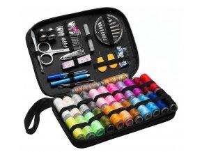 Velká barevná sada šití - Nitě, cívky, nůžky v pouzdře s 98 ks- Výprodej