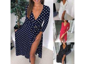 Dámské letní luxusní dlouhé šaty s rozparkem NEW