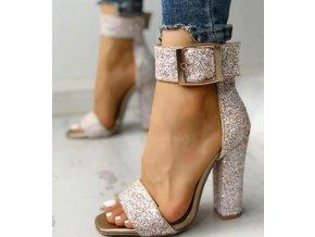 Dámské boty- Stříbrné dámské boty na širokém podpatku