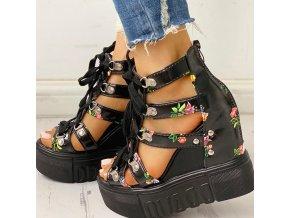 Dámské boty- Dámské sandály na klínu černé a bílé