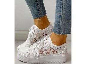 Dámské boty- Dámské luxusní krajkové letní tenisky černé, bílé