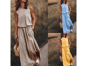 Dámské letní pohodlné dlouhé šaty až 2XL