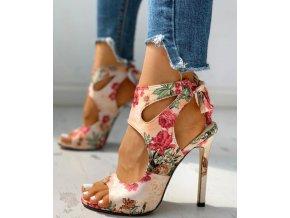 Dámské boty- Dámské boty na podpatku s květy AKCE