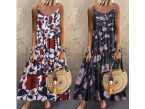 Dámské letní pohodlné dlouhé šaty s květinami pro plnoštíhlé až 5XL