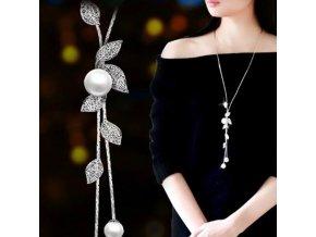 Pro ženy- dlouhý luxusní řetízek s přívěškem s perlami - Dárky pro ženy