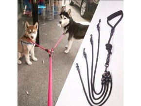 Vodítko pro psa - dvojité vodítko - v černé a červené barvě - výprodej skladu