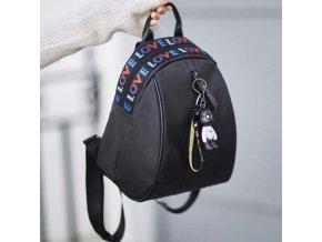 Dámský batoh - černý batoh s barevným nápisem love a přívěškem - dárky pro ženy