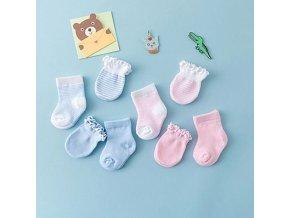 ponožky pro novorozence - sada ponožek a rukavic pro holčičku a chlapečka - v růžové a modré barvě