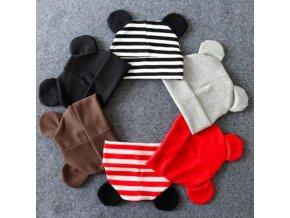 Čepice pro miminka - čepice s ouškama pro kluka i holčičku - více barev