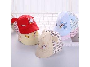 Pro děti - kšiltovka pro novorozence - potisk pejsek s ušima - výprodej skladu