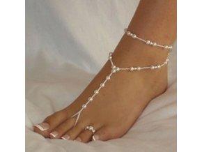 Pro ženy - náramek + prstýnek na nohu s perličkami - šperky na pláž