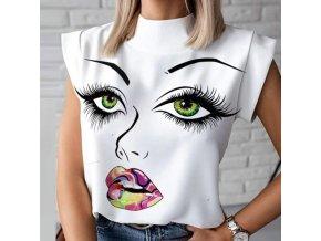 Dámské oblečení - dámská trička - trička s potiskem - dámské halenky - tričko s potiskem obličeje a barevných rtů - obličej