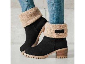 Dámské zimní boty - dámské boty - dámské kotníkové boty - zima - podzim - dámské zimní boty s kožíškem