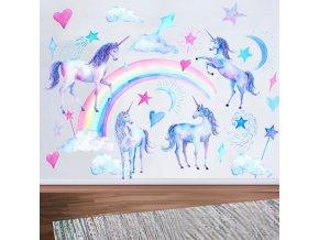 dětský pokoj - dekorace - tapeta - samolepky na zeď - nástěnná dekorace - samolepka na zeď s obrázky jednorožce a druhy - jednorožec