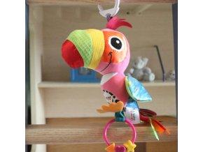 Hračka pro miminka - hračky - chrastítko - chrastítko na kočárek - papoušek - dárek
