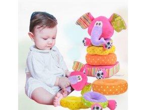 Děti - hračky pro děti - hračky pro novorozence - měkké plyšové chrastítko slon - slon - plyšák
