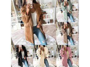 dámské oblečení - kabát - dámský zimní kabát - dámské kabáty - podzimní plyšový kabát ve více barvách