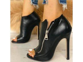 boty - dámské boty - podzimní boty - boty na podpatku - sexy lesklé boty na podpatku zdobené zipem - dárek pro ženu