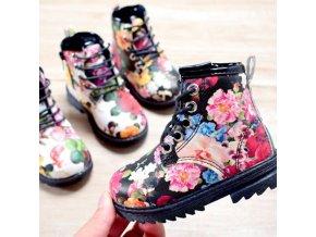 boty - dětské boty - dětské zimní boty - zimní módní dětské boty zdobené květinami - výprodej skladu