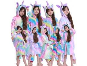 Jednorožec - pyžamo - overal - teplá pyžamo ve stylu jednorožce na zip - dárek pro holčičku - výprodej skladu