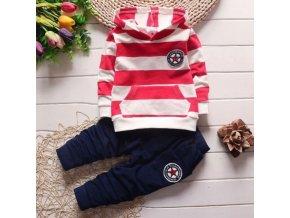 oblečení pro miminka -  chlapecké oblečení - tepláková souprava - pruhovaná chlapecká souprava - tepláky - mikina