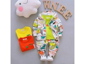 Dětské oblečení - oblečení pro chlapce - podzimní set mikina + bunda + kalhoty - dinosauři - dárek pro chlapce