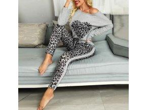 Oblečení - tepláková souprava - dámské tepláky - dámská trička - krásná tepláková souprava v leopardím stylu