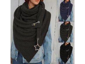 Dámské šály - šátek - módní šála zdobená hvězdou- dárek pro ženu - vánoční dárek