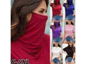 Oblečení - dámské trička - trička - roušky - tričko s rouškou - více barev - až 5XL - nadměrné velikosti