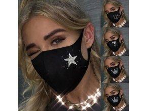 Roušky - rouška - módní rouška - černá rouška zdobená kamínky s různými obrázky - výprodej skladu