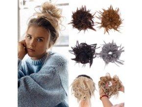 Účesy - drdol  - gumička - gumička s umělými vlasy vhodná na drdol - dárek pro ženu