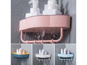 Koupelna - polička - koupelnová rohová polička s věšákem - úložný regál