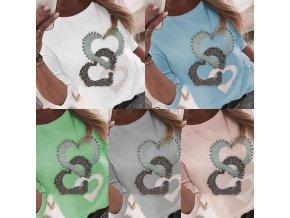 Dámské oblečení - dámské mikiny - nadměrné velikosti- dámská trička - trička s potiskem - trička - dámské tričko s dlouhým rukávem a potiskem srdíček