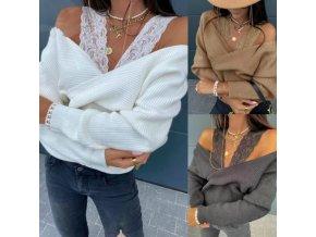 Dámské oblečení - svetry - dámské svetry - krásný podzimní svetr s odhalenými rameny zdobený krajkou - výprodej skladu
