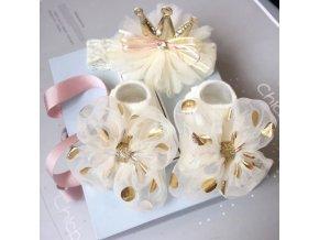 Miminko - oblečení pro miminka - krásný set pro holčičku ponožky + čelenka - ponožky - dárek