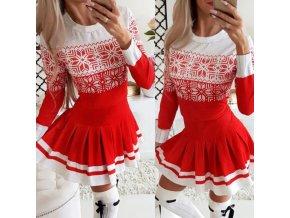 Dámské oblečení - šaty - dámské šaty - vánoce - vánoční šaty - pletené šaty s zimním vzorem vhodné na Vánoce - dárek pro ženu